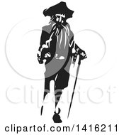 Clipart Of A Black And White Woodcut Pirate Captain With A Cane And Peg Leg Royalty Free Vector Illustration
