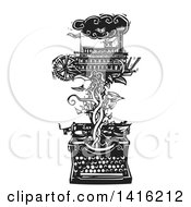 Clipart Of A Black And White Woodcut Riverboat On A Vine Emerging From A Typewriter Royalty Free Vector Illustration by xunantunich