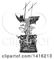 Clipart Of A Black And White Woodcut Arab Dhow Boat On A Vine Emerging From A Typewriter Royalty Free Vector Illustration by xunantunich