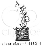 Clipart Of A Black And White Woodcut Alphabet Letters Emerging From A Typewriter Royalty Free Vector Illustration