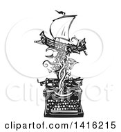 Clipart Of A Black And White Woodcut Greek Warship On A Vine Emerging From A Typewriter Royalty Free Vector Illustration by xunantunich