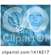 Clipart Of A 3d Female Human Head With Dna Strands In Blue Tones Royalty Free Illustration