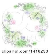 Clipart Of Sketched Floral Vines With Butterflies And Pink Purple And Green Spots Forming A White Cross Shape Royalty Free Vector Illustration by KJ Pargeter