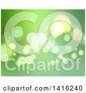 Clipart Of A Background Of Green Bokeh Flares Royalty Free Illustration