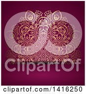 Clipart Of A Wedding Invitation Background Of An Ornate Golden Floral Design On Purple Royalty Free Vector Illustration by KJ Pargeter