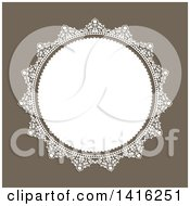 Clipart Of A Wedding Invitation Background Of A Round White Floral Frame Over Brown Royalty Free Vector Illustration