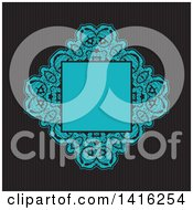 Clipart Of A Wedding Invitation Background Of A Blue Floral Frame Over Dark Stripes Royalty Free Vector Illustration by KJ Pargeter