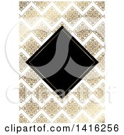 Clipart Of A Wedding Invitation Background Of A Black Diamond Framed Over Golden Floral Tiles And Zig Zags Royalty Free Vector Illustration by KJ Pargeter