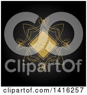 Clipart Of A Wedding Invitation Background Of A Golden Glitter Diamond And Swirls On Black Royalty Free Vector Illustration