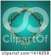 Clipart Of A Wedding Invitation Background Of An Ornate Floral Golden Diamond Frame On Turquoise Royalty Free Vector Illustration by KJ Pargeter