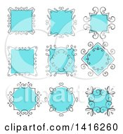 Sketched Gray And Blue Frame Design Elements
