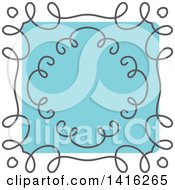 Clipart Of A Sketched Gray And Blue Frame Design Element Royalty Free Vector Illustration