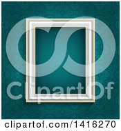 Clipart Of A 3d Blank Picture Frame Over A Teal Damask Wallpaper Background Royalty Free Vector Illustration by KJ Pargeter