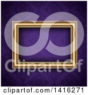 Clipart Of A 3d Blank Picture Frame Over A Purple Damask Wallpaper Background Royalty Free Vector Illustration