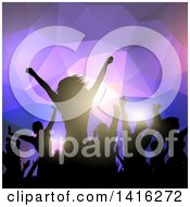 Clipart Of A Silhouetted Dancing And Cheering Crowd Over Purple Geometric Lights Royalty Free Vector Illustration