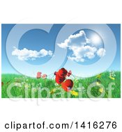 Clipart Of A 3d Grassy Hill With Daisies Dandelions And Poppies Under A Blue Sky With Clouds Royalty Free Illustration
