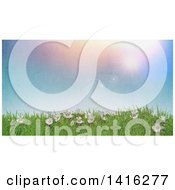 Clipart Of A 3d Hill With Daisies And Grass Against A Sunny Sky With Vintage Flare Effect Royalty Free Illustration