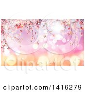 Clipart Of A Background Of 3d Pink Cherry Blossoms On Gradient Flares Royalty Free Illustration
