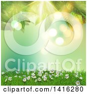 Clipart Of A 3d Hill With Daisies And Grass Against Green Flares With Leaves Royalty Free Illustration