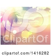 3d Tropical Ocean Bay With Mountains And Palm Trees At Sunset