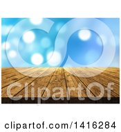 Clipart Of A 3d Wood Table Or Deck Over Blue Bokeh Royalty Free Illustration