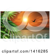 Clipart Of A 3d Tropical Ocean Bay With Mountains A Bald Eagle And Palm Trees At Sunset Royalty Free Illustration