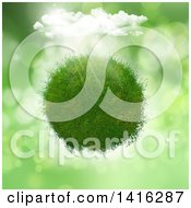 Clipart Of A 3d Grassy Planet With Sunshine And Clouds On Flares Royalty Free Illustration