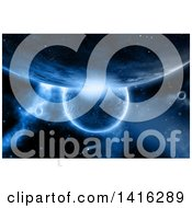 Clipart Of A Background Of 3d Fictional Planets And Nebula In Blue Tones Royalty Free Illustration