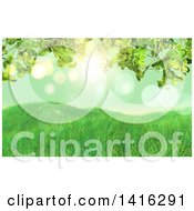 Clipart Of A Background Of 3d Grasssy Hills And Clover Leaves Against Green Bokeh Royalty Free Illustration