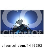 Clipart Of A 3d Demon Rising From The Earth Royalty Free Illustration