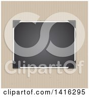 Clipart Of A Blank Picture Tucked In Corners Over A Striped Cardboard Background Royalty Free Vector Illustration by KJ Pargeter