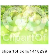 Clipart Of A Background Of Green Bokeh Flares And Clovers Royalty Free Illustration by KJ Pargeter