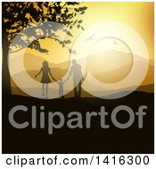 Clipart Of A Silhouetted Son And His Parents Holding Hands And Walking In The Countryside At Sunset Royalty Free Vector Illustration by KJ Pargeter