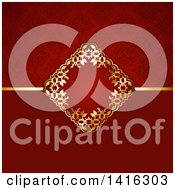 Clipart Of A Red And Gold Invitation Background Royalty Free Vector Illustration by KJ Pargeter
