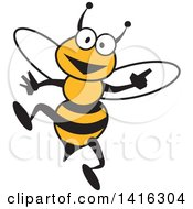 Clipart Of A Cartoon Bee Smiling Royalty Free Vector Illustration