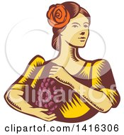 Retro Woodcut Senorita Spanish Woman Holding Grapes