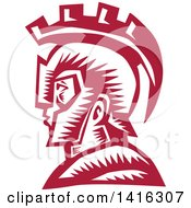 Retro Woodcut Spartan Warrior In Profile Wearing A Helmet