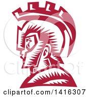 Retro Woodcut Spartan Warrior In Profile Wearing A Helmet