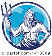 Retro Woodcut Roman Sea God Neptune Or Poseidon With A Trident In A White And Blue Circle