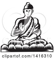 Clipart Of A Black And White Retro Woodcut Buddha Sitting In The Lotus Position Royalty Free Vector Illustration