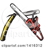 Clipart Of A Retro Woodcut Crossed Chainsaw And Straight Razor Royalty Free Vector Illustration