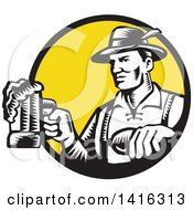 Clipart Of A Retro Black And White Woodcut German Man Wearing Lederhosen And Raising A Beer Mug For A Toast Emerging From A Black And Yellow Circle Royalty Free Vector Illustration