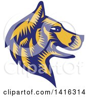 Clipart Of A Retro Woodcut Blue And Yellow Husky Dog Head In Profile Royalty Free Vector Illustration