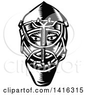Clipart Of A Retro Black And White Woodcut Ice Hockey Goalie Helmet Royalty Free Vector Illustration by patrimonio