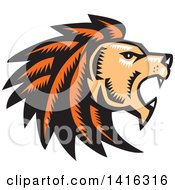 Clipart Of A Retro Woodcut Roaring Male Lion Head In Profile Royalty Free Vector Illustration