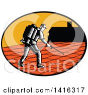 Clipart Of A Retro Woodcut Paver Sealer Contractor Worker Sealing Paving Near A House Royalty Free Vector Illustration