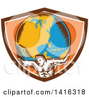 Clipart Of A Retro Woodcut Strong Man Atlas Holding Earth On His Shoulders In A Brown White And Orange Crest Royalty Free Vector Illustration