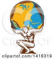 Clipart Of A Retro Woodcut Strong Man Atlas Kneeling And Holding Earth On His Shoulders Royalty Free Vector Illustration
