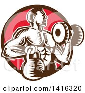 Clipart Of A Retro Woodcut Strong Male Bodybuilder Working Out With A Dummbell And Kettlebell Emerging From A Brown And Red Circle Royalty Free Vector Illustration