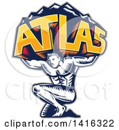 Clipart Of A Retro Woodcut Strong Man Atlas Holding Mountains On His Shoulders Royalty Free Vector Illustration